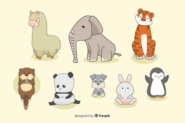 Tiny Kawaii Kolekcja Zwierząt W Ręku Rysowane Darmowych Wektorów