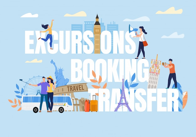 Tiny People On Excursion Booking Transfer Tekst Premium Wektorów
