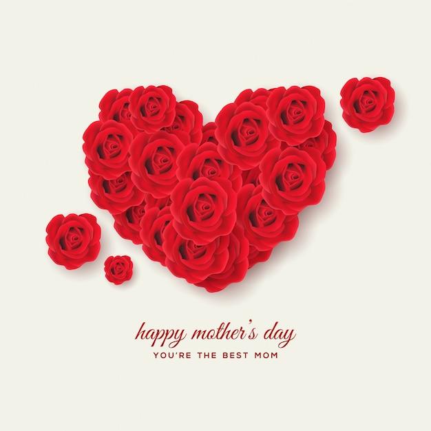 Tła Dzień Matki Z Ilustracjami 3d Czerwone Róże Tworzy Miłość Premium Wektorów