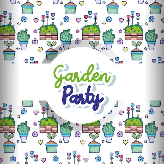 Tła Kreskówki Ogródu Przyjęcia Wzór Premium Wektorów