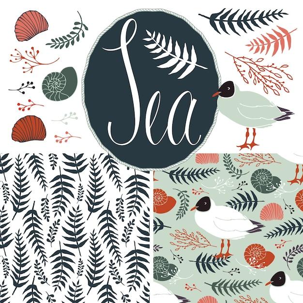 Tła z mewami i paprociami. zestaw morski Darmowych Wektorów