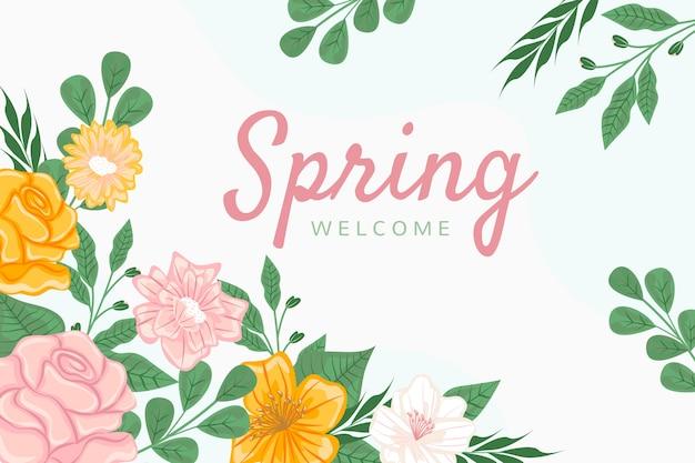 Tle Kwiatów Z Napisem Wiosna Powitanie Darmowych Wektorów