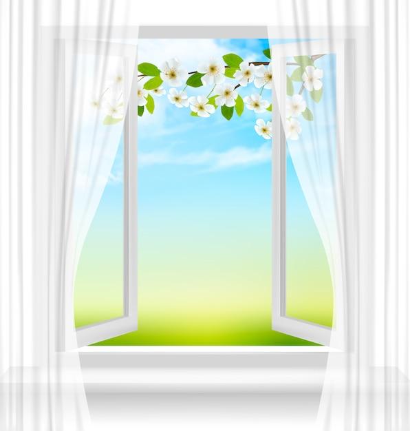 Tle Przyrody Z Otwartym Oknie I Wiosenny Kwiat Wiśni. Premium Wektorów
