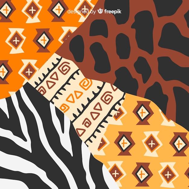 Tło afrykańskiej tkaniny i skóry zwierząt Darmowych Wektorów