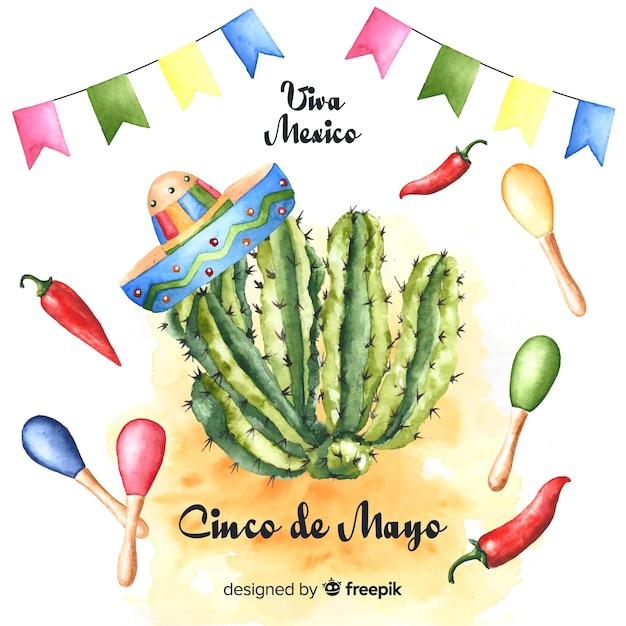 Tło Akwarela Cinco De Mayo Darmowych Wektorów