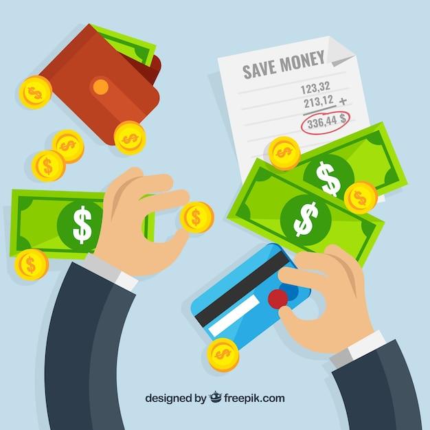 Tło Biznesmen Z Banknotów I Karty Kredytowej Darmowych Wektorów