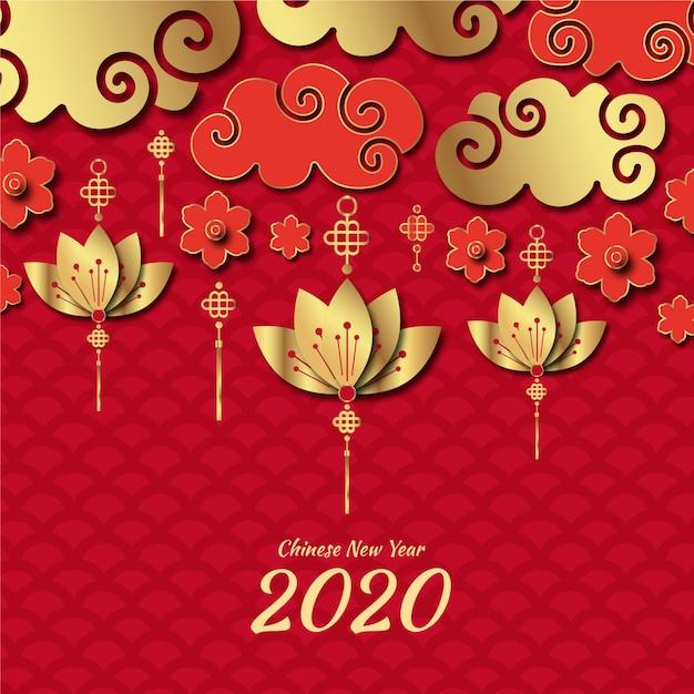 Tło chiński nowy rok w stylu papieru Darmowych Wektorów
