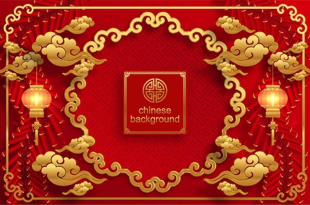 Tło chińskie wesele orientalne Premium Wektorów