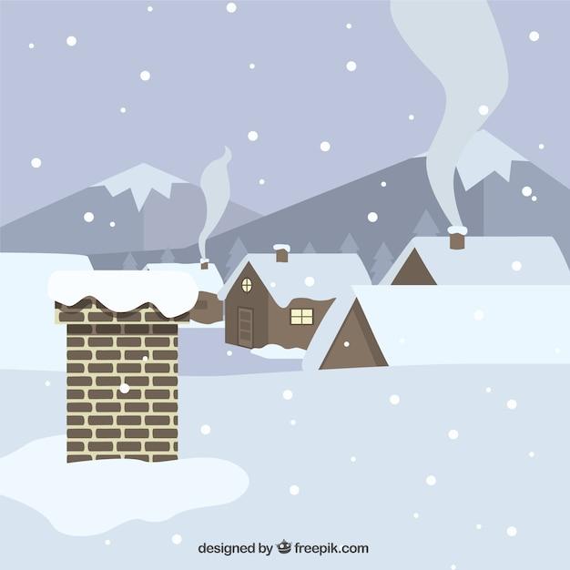 Tło dach i domy pokryte śniegiem w płaskiej konstrukcji Darmowych Wektorów