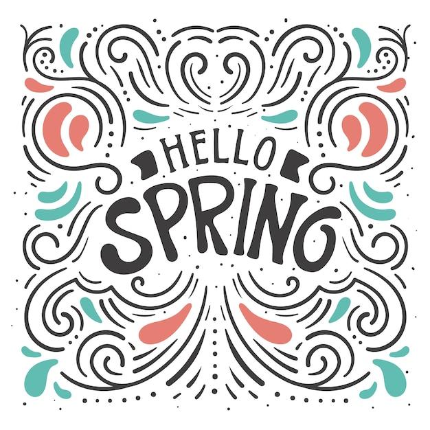 Tło Dekoracyjne Witaj Wiosna Napis Darmowych Wektorów