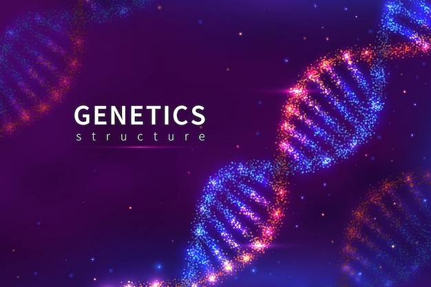 Tło Dna. Struktura Genetyki, Technologia Biologii. 3d Ludzki Genom Dna Model Plakat Premium Wektorów