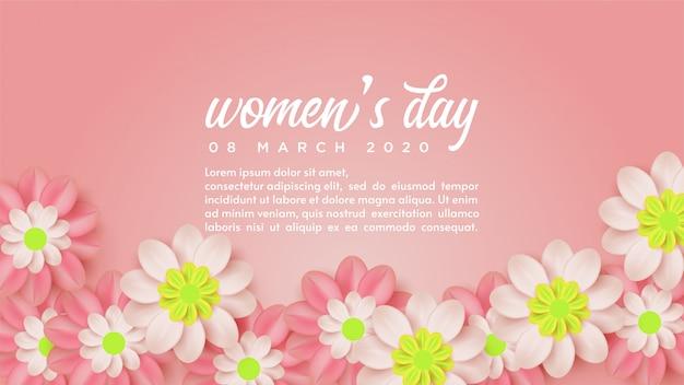 Tło Dzień Kobiet Z Ilustracjami Kwiatów I Białych Słów. Premium Wektorów