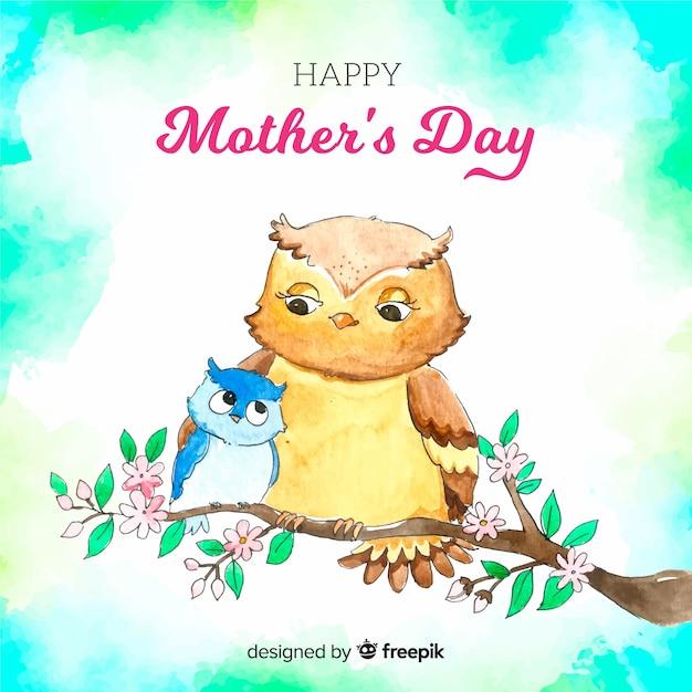 Tło Dzień Matki Akwarela Darmowych Wektorów