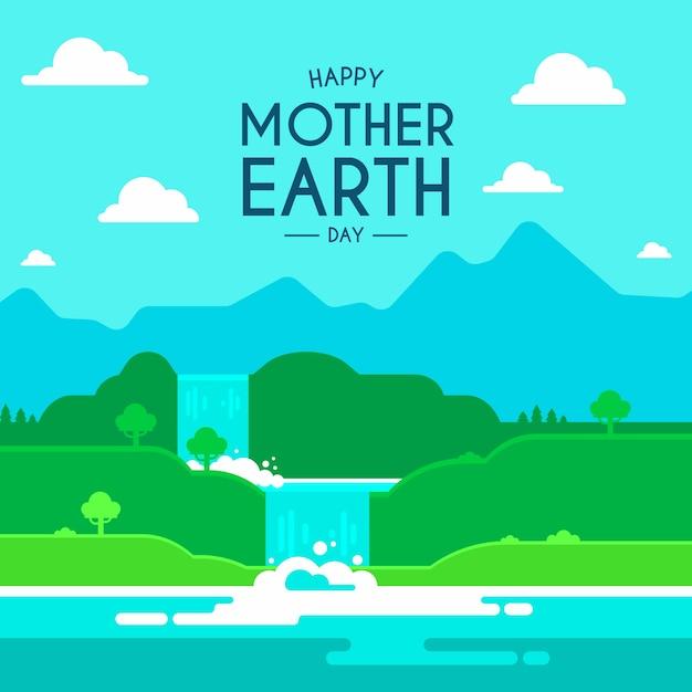 Tło Dzień Matki Ziemi Płaski Kształt Darmowych Wektorów