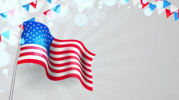 Tło Dzień Prezydenta Usa Z Falistą Flagą I Proporczyki Premium Wektorów
