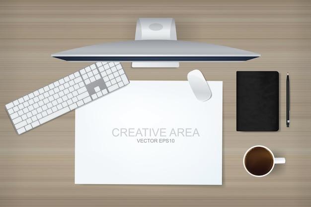 Tło Ekranu Komputera Z Miejsca Pracy Premium Wektorów
