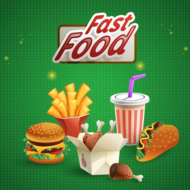 Tło Fast Food Z Napojem Darmowych Wektorów