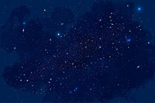 Tło galaktyki, słońca, planet i gwiazd Premium Wektorów