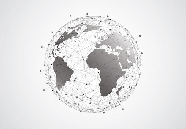 Tło Globalnej Sieci Połączeń. Kompozycja Punktu I Linii Na Mapie świata Premium Wektorów