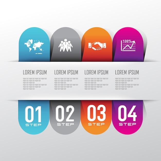 Tło Graficzne Informacji Z Krokiem Informacyjnym Premium Wektorów