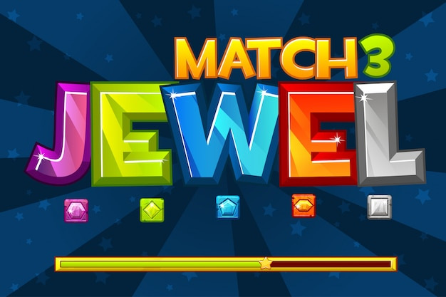 Tło Gry Gems Match3. Ustaw Wielobarwne Cenne Ikony I ładowanie Gry, Graficzne Zasoby Gui Premium Wektorów