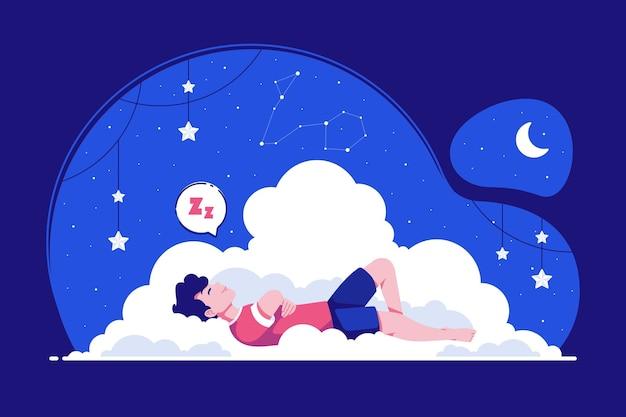 Tło Ilustracja Koncepcja Spokojnego Snu Premium Wektorów