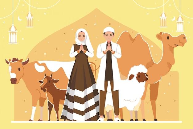 Tło Ilustracji Eid Al Adha Premium Wektorów