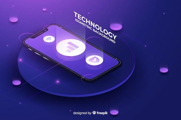 Tło izometryczne technologii gradientu smartphone Darmowych Wektorów
