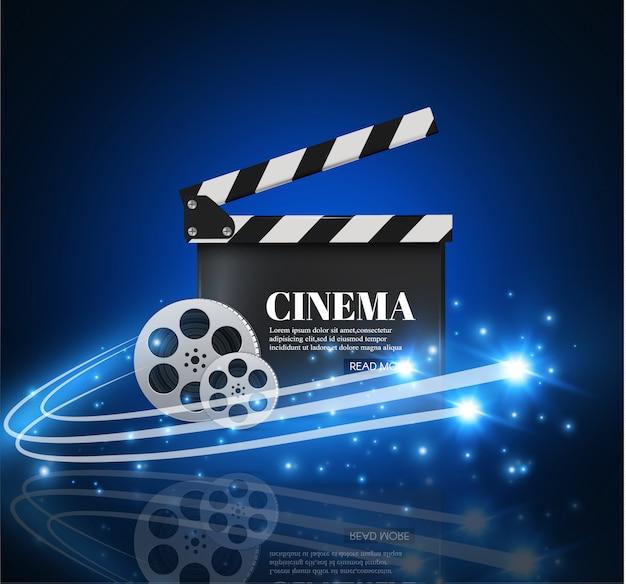 Tło Kino Z Filmu. Niebieskie Tło Z Jasną Gwiazdą. Zarząd Klapy. Premium Wektorów