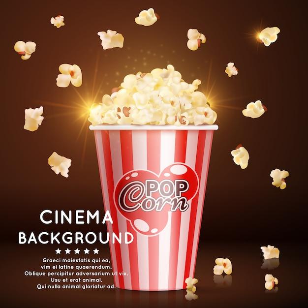 Tło kino z realistycznym popcornem Premium Wektorów