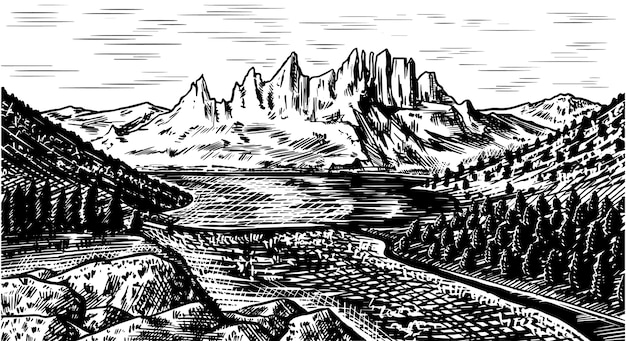 Tło Krajobraz Górski Premium Wektorów