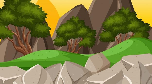 Tło krajobraz z wzgórzami i drzewami Premium Wektorów