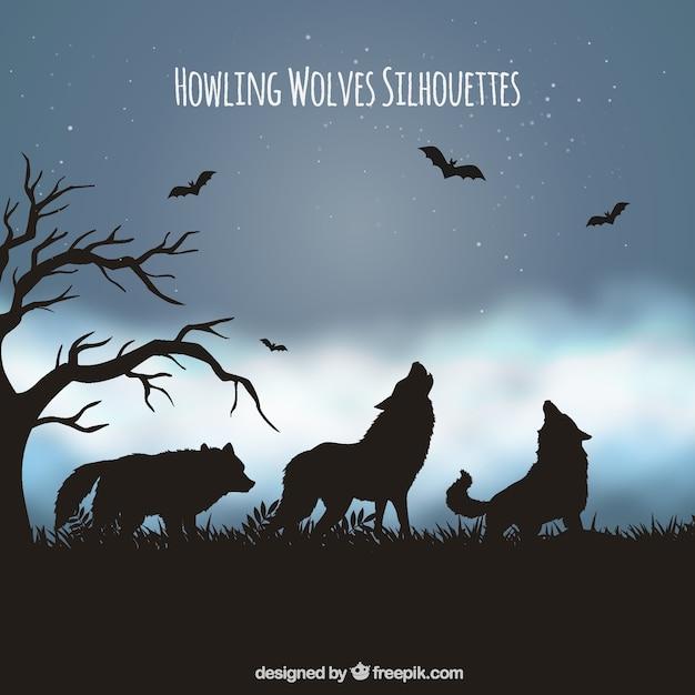 Tło krajobrazu z sylwetką wilków i nietoperzy Darmowych Wektorów
