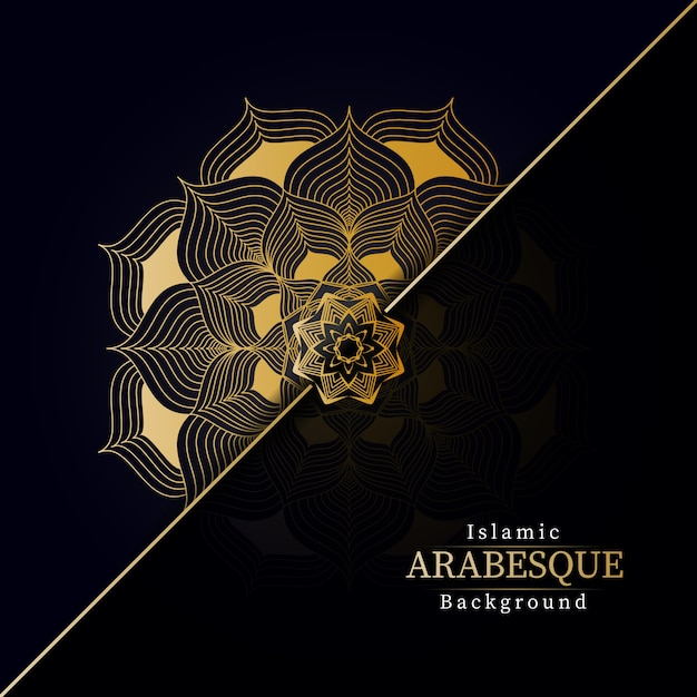 Tło kreatywnych luksusowych mandali ze złotym kreatywnych arabeska wzór arabski styl islamski wschód Premium Wektorów