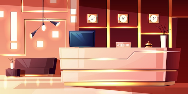 Tło kreskówka z recepcji hotelu, przytulne foyer. nowoczesne biurko, oświetlenie pustej sali. Darmowych Wektorów