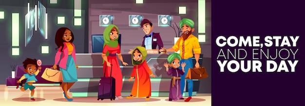 Tło kreskówka z recepcji hotelu, ulotki lub plakat reklamy, baner z rodziną arabską Darmowych Wektorów