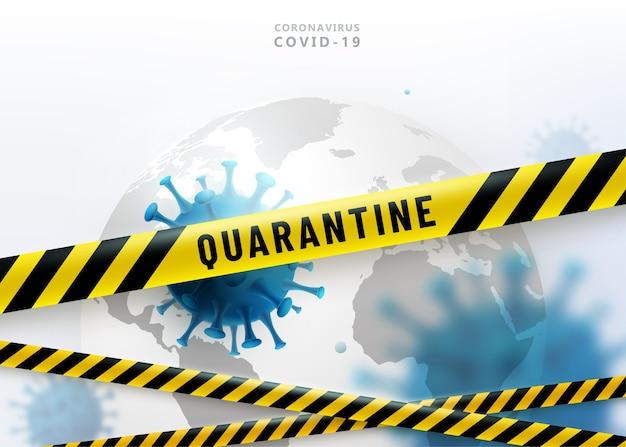 Tło Kwarantanny Koronawirusa. Wirus 2019-ncov Atakuje Ziemię. Listwy Ochronne Darmowych Wektorów