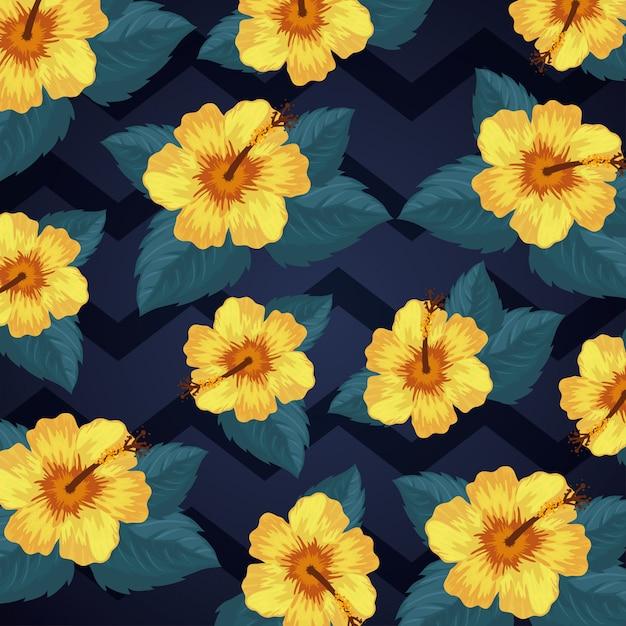 Tło kwiatów i liści tropikalnych Darmowych Wektorów