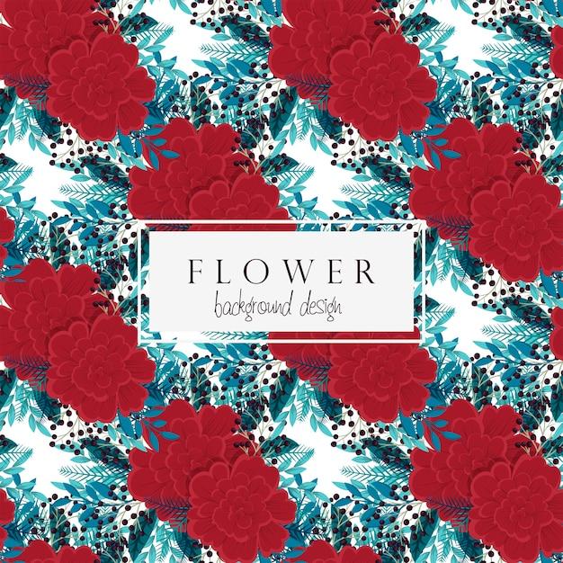 Tło kwiatu czerwień kwitnie bezszwowego wzór Darmowych Wektorów