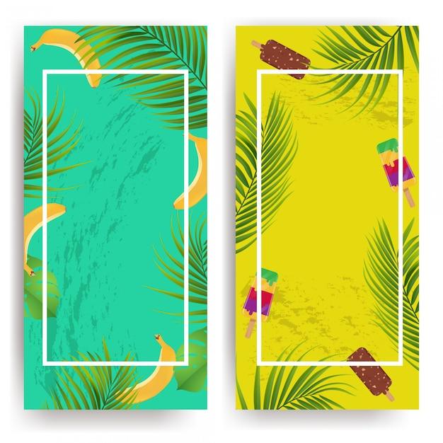 Tło Lato Z Kwiatów, Lodów I Bananów Premium Wektorów