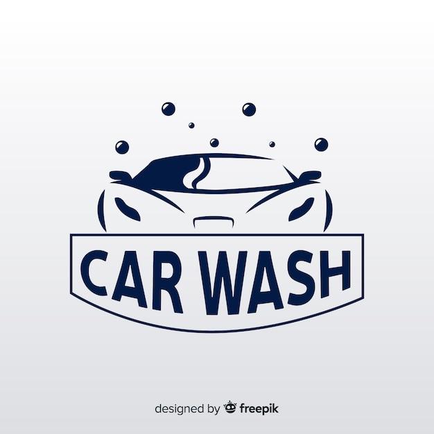 Tło logo płaski myjnia samochodowa Darmowych Wektorów
