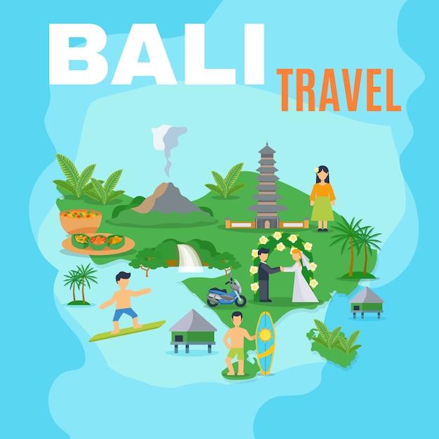 Tło mapa bali travel Darmowych Wektorów