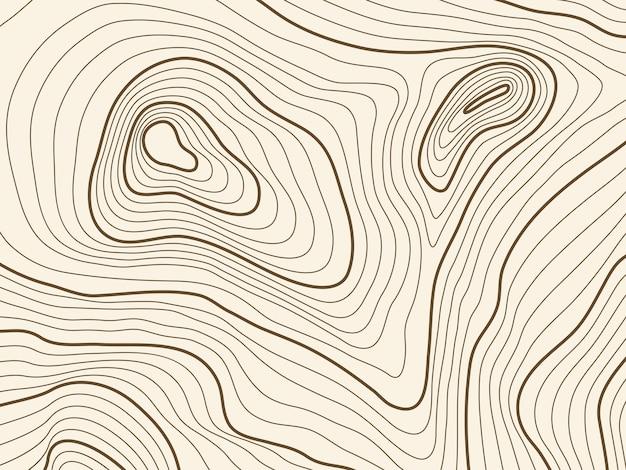 Tło Mapy Topograficznej Terenu Górskiego. Vector Mapowanie Tekstury Kontur Z Elewacją Premium Wektorów