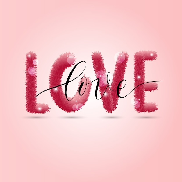Tło Miłości. Ilustracja Karta świąteczna Na Różowym Tle. Premium Wektorów