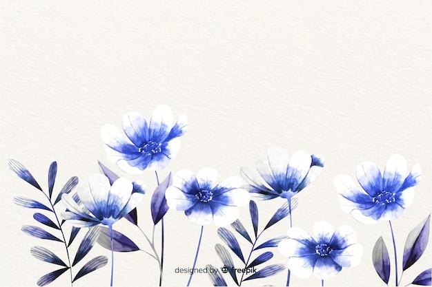 Tło monochromatyczne kwiaty akwarela Darmowych Wektorów