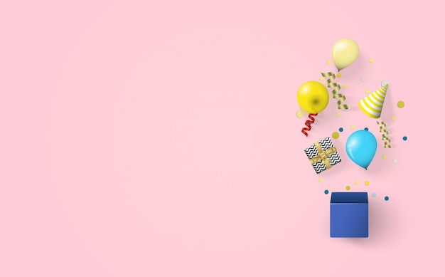 Tło Na Obchody Urodzin Z Ilustracjami Pudełek, Balonów I Czapek Urodzinowych Na Różowym Tle. Premium Wektorów