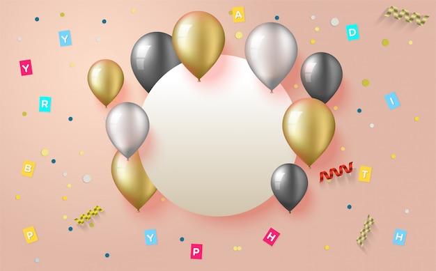 Tło Na Przyjęcie Urodzinowe Ze Złotymi, Białymi I Czarnymi Balonowymi Ilustracjami. Premium Wektorów
