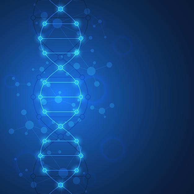 Tło Nici Dna I Inżynieria Genetyczna. Koncepcja Technologii I Nauki Medycznej. Premium Wektorów