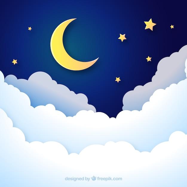 Tło nocne niebo w papierowym stylu Darmowych Wektorów