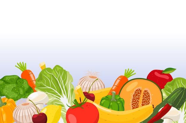 Tło Owoców I Warzyw Premium Wektorów